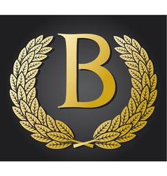 letter B and gold laurel wreath vector image vector image