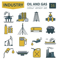 Oil and gas industry icon set Colour design vector image
