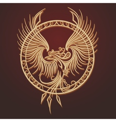 Phoenix Emblem in Circle vector image