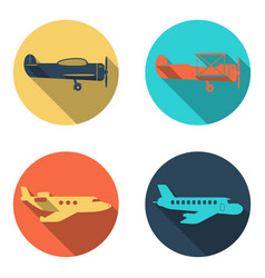 plane icons set flat design vector image vector image