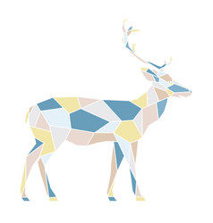 polygonal geometric outline multicolor of deer vector image vector image