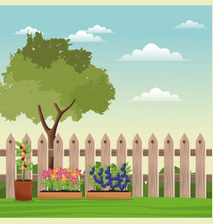 Pot plants tree field fence vector