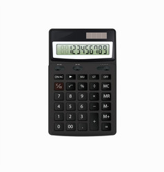 realistic black calculator on white vector image vector image