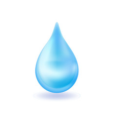 Realistic blue water drop 3d icon droplet falls vector