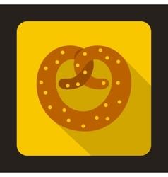Realistic tasty pretzel icon flat style vector image