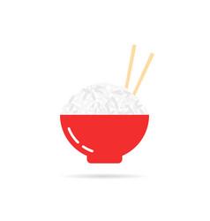 Rice porridge with chopsticks vector