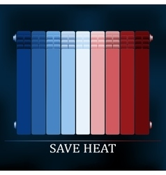 Save heat colored radiator vector
