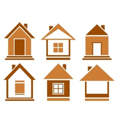Set brown isolated house vector