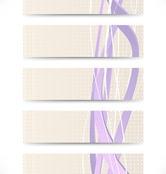 Set of business cards with purple swooshes vector image vector image