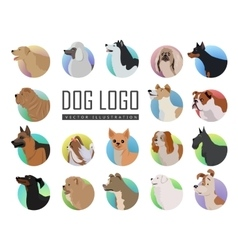 Set of dog logos in flat style design vector
