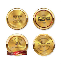 Set of gold metal badges vector