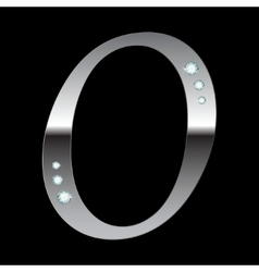 silver metallic letter O vector image vector image