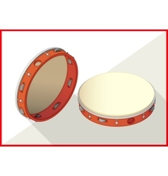 Tambourine isometric perspective view flat vector image