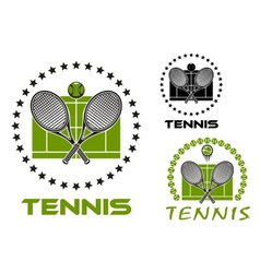 Tennis game sports emblems and icons vector image