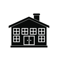Two-storey house black simple icon vector image vector image
