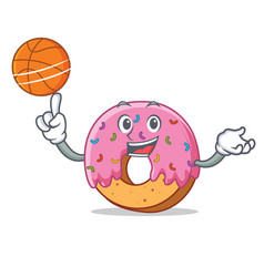 With basketball donut character cartoon style vector