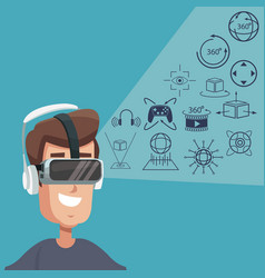Young man virtual reality wearing goggle digital vector