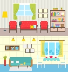 Set home interiors design of living rooms vector