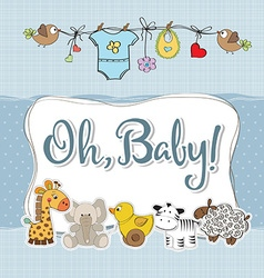 Baby boy shower card with animals vector