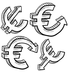 Doodle currency up down euro vector