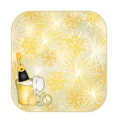 Button square new year fireworks vector