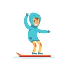 Boy Snowboarding Traditional Male Kid Role vector image