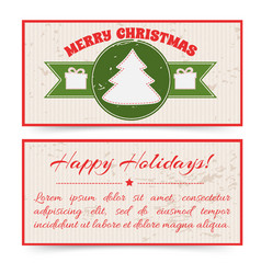 Merry christmas greeting horizontal banners vector