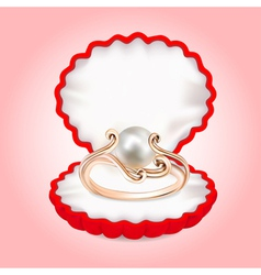 Ring with pearls in the red box vector