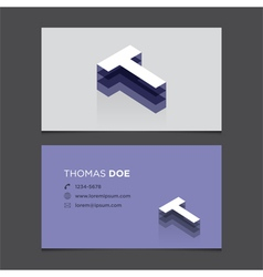 Business card letter t vector