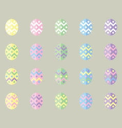 Pastel easter eggs in flat ui design style vector