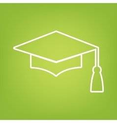Mortar board or graduation cap line icon vector