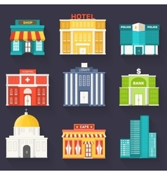 Flat colorful sity buildings set Icon vector image