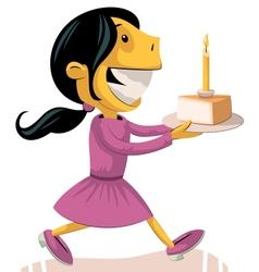 Girl bringing birthday cake vector