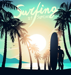 Surfing at sunrise with a longboard surfer vector