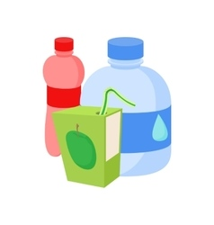 Assortment of beverages icon cartoon style vector
