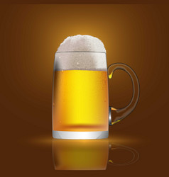 a glass mug with beer and foam banner cover vector image vector image