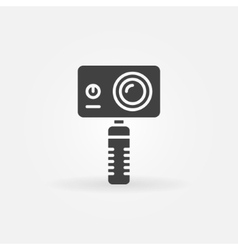 Action camera on monopod vector
