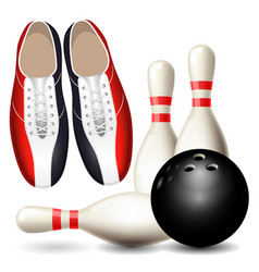 bowling shoes skittles and ball vector image vector image