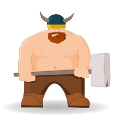 Cartoon viking with hammer vector
