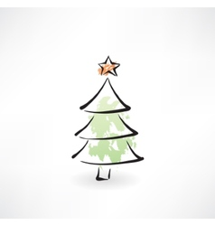 Christmas tree grunge icon vector image vector image