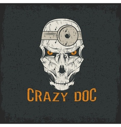 crazy doctor skull vector image