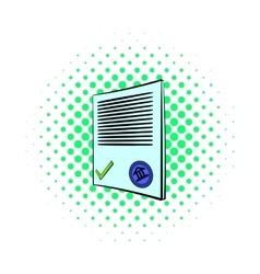 Document icon comics style vector image vector image