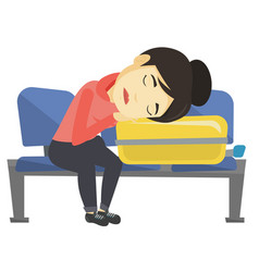 Exhausted woman sleeping on suitcase at airport vector