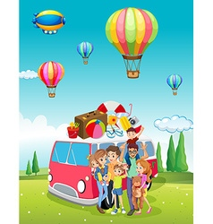 Family trip and balloons flying vector
