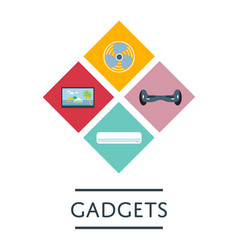 gadgets store icon set in flat design vector image