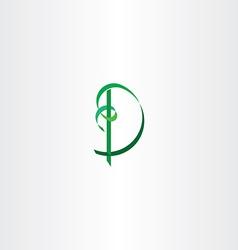 green letter d ribbon tape logo vector image