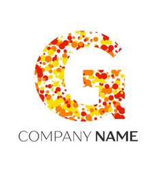 Letter g logo with orange yellow red particles vector