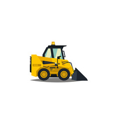 Mini loader yellow flat style commercial vector