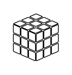 rubics cube game shape it is black icon vector image