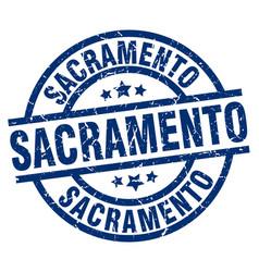 Sacramento blue round grunge stamp vector